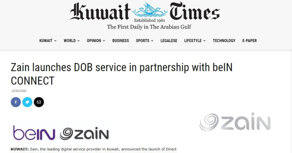 Screenshot of Kuwait Times article on Zain and beIN Connect