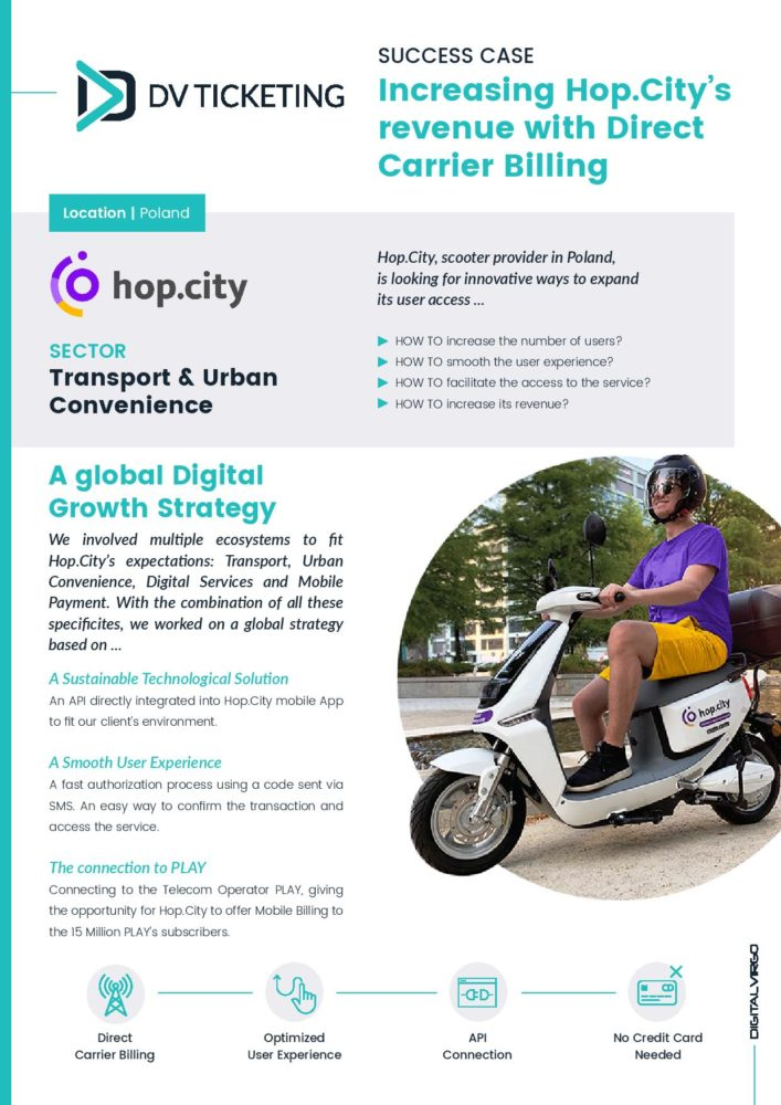 First Page of the success Hop City with DV Ticketing