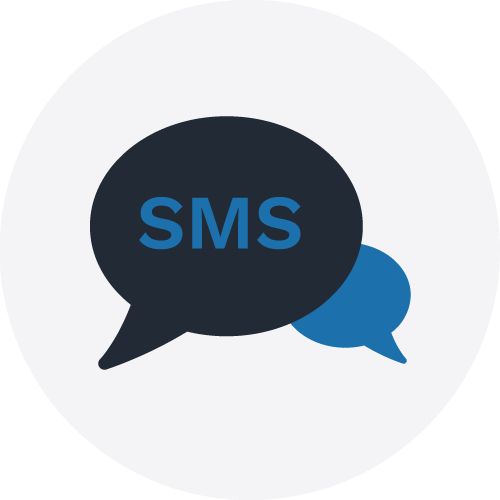 SMS icon on grey circle