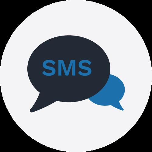 SMS icon on grey circle