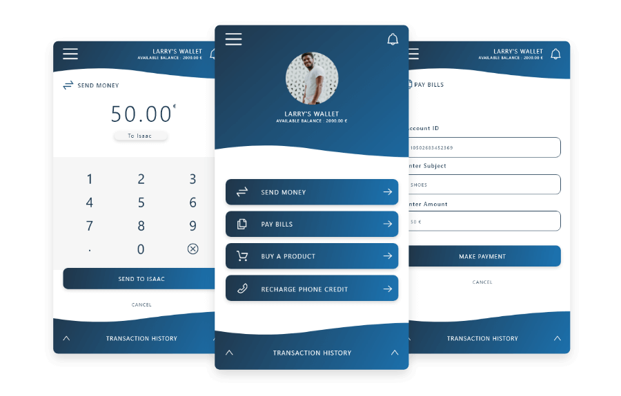 Screens of wallet service