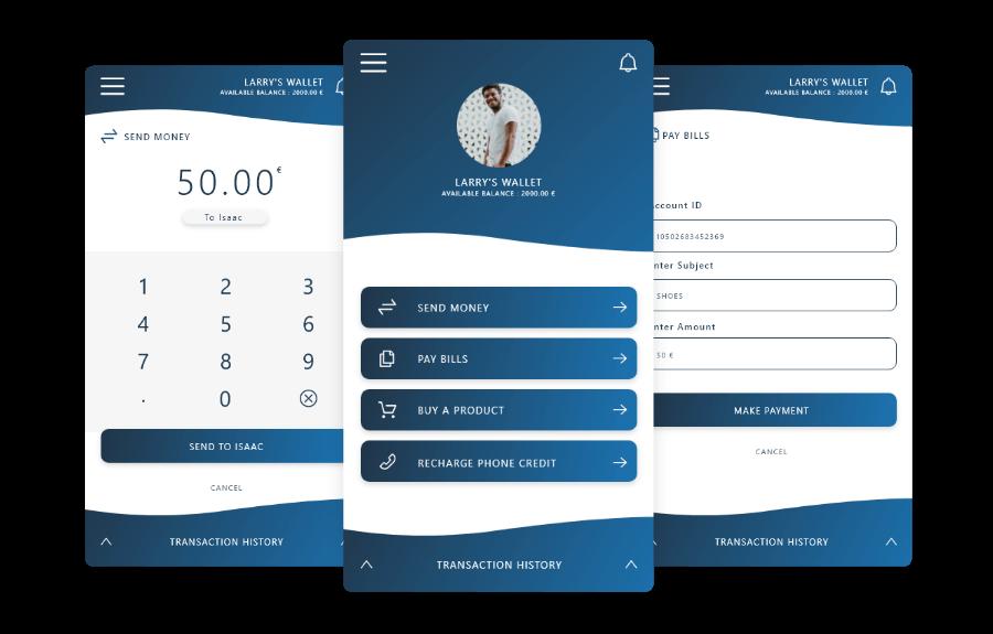 Screens of wallet service